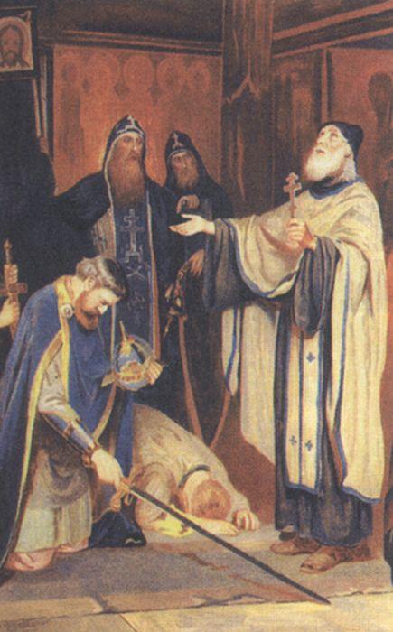 Новоскольцев, Преподобный Сергий благословляет Дмитрия Донского на борьбу с Мамаем