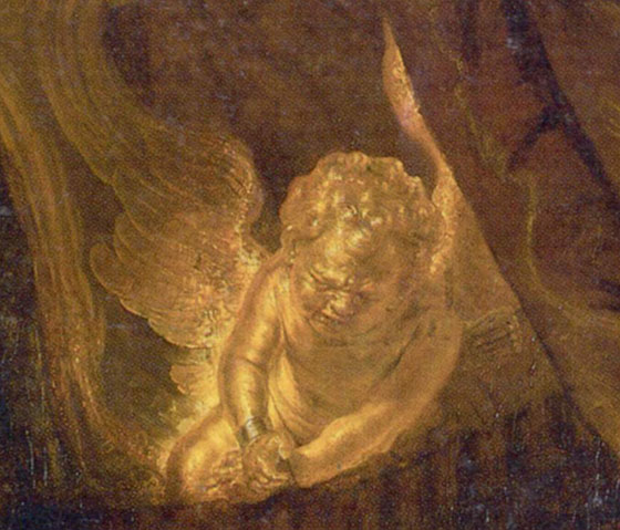 Рембрандт, Даная, фрагмент плачущего Амура