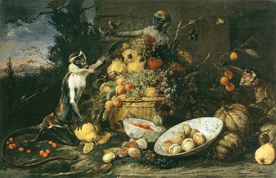 Франс Снейдерс, три обезьянки и корзина с фруктами