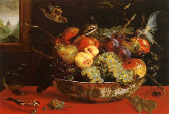 Франс Снейдерс, фрукты чашка и птицы