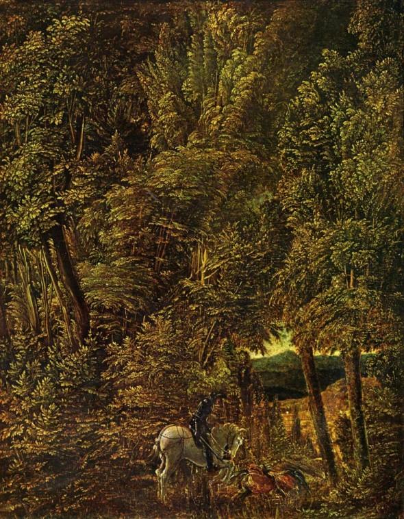 Альбрехт Альтдорфер, «Лесной пейзаж с битвой святого Георгия»
