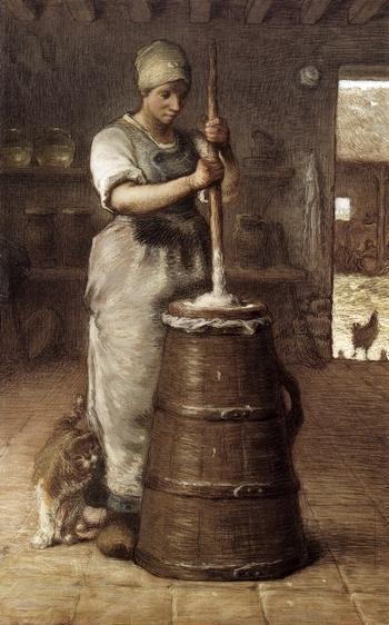 Ж.Ф. Милле, Крестьянка, сбивающая масло
