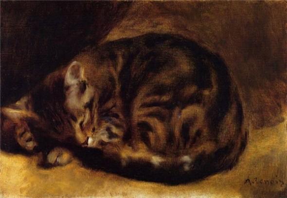 Огюст Ренуар Спящая кошка