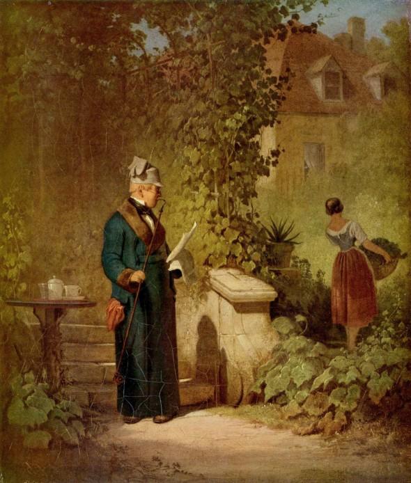 Карл Шпицвег «Читающий газету в саду»
