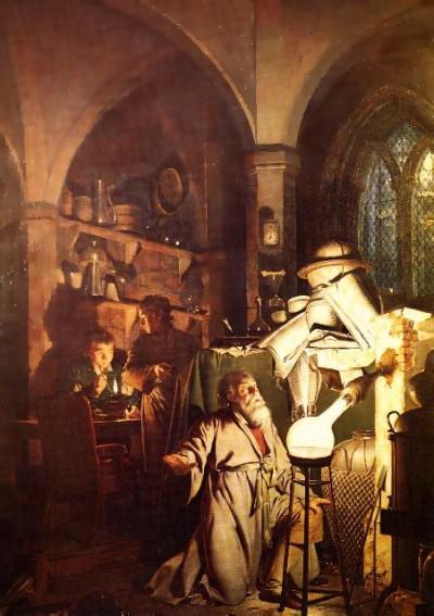 Алхимик, открывающий фосфор Джозеф Райт