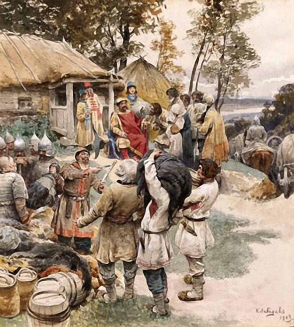 Василий Лебедев Князь Игорь собирает дань с древлян в 945 году