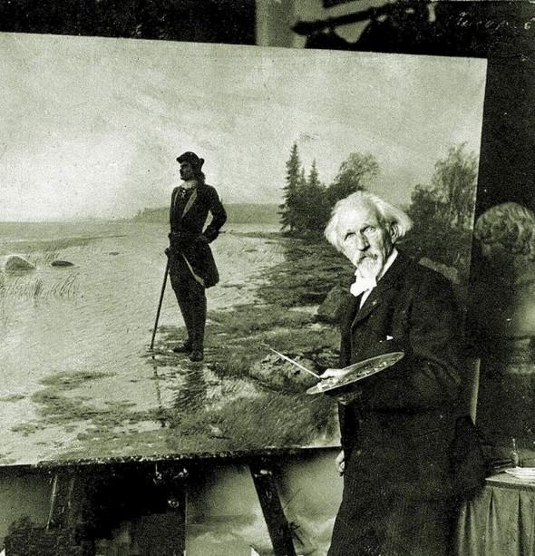 Лев Феликсович Лагорио за работой над картиной «На берегу пустынных волн»
