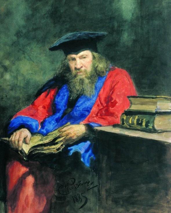 Менделеев в традиционном облачении доктора прав Эдинбургского университета