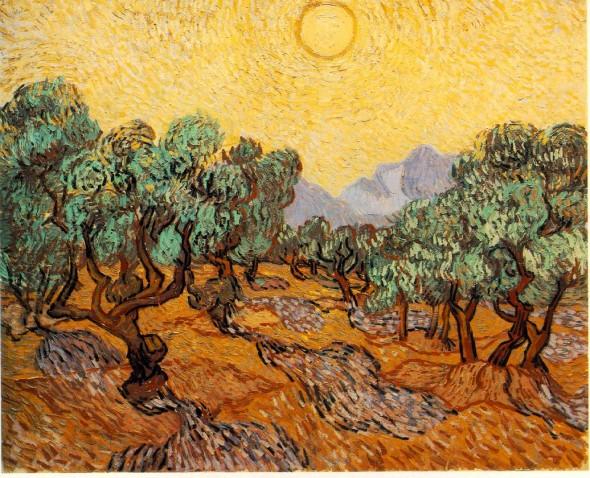 Винсент Ван-Гог (1853 – 1890) «Оливковые деревья с жёлтыми небесами и солнцем» (1889)