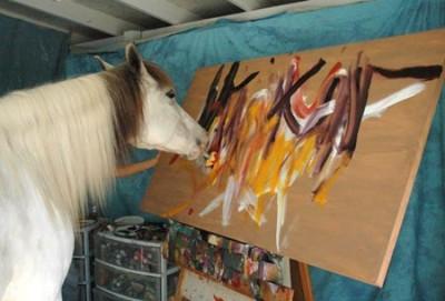 Лошадь рисует