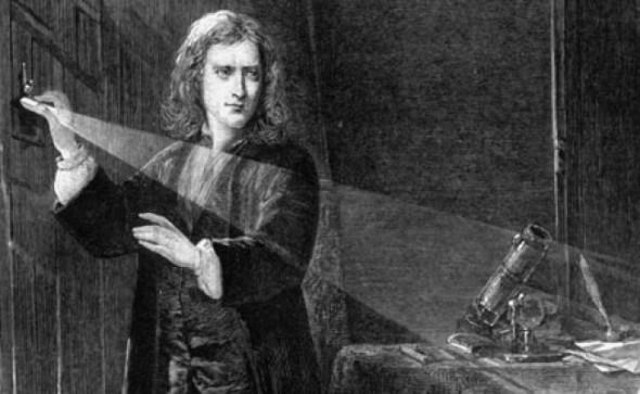 Исаак Ньютон расскладывает солнечный свет