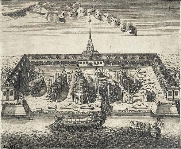 Алексей Иванович Ростовцев, «Вид Адмиралтейской верфи в Санкт-Петербурге»,